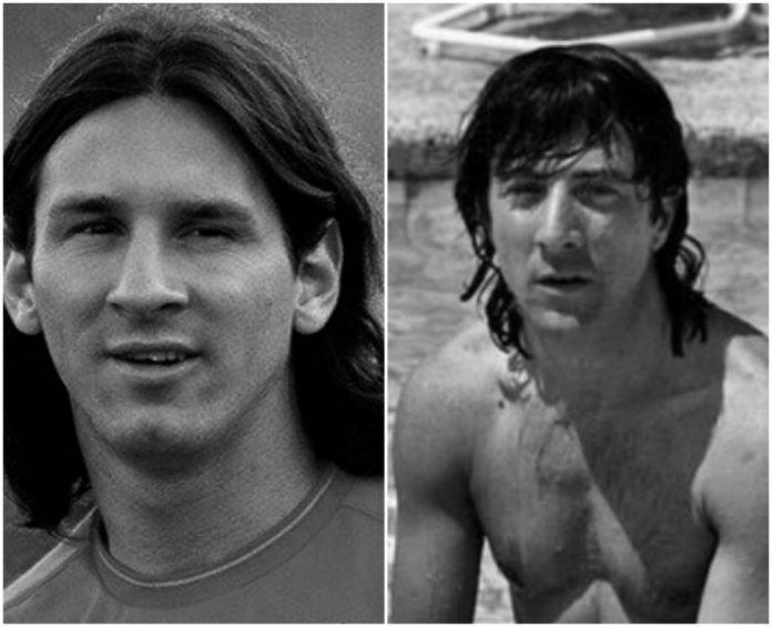 Lionel Messi y su doble Dustin Hoffman