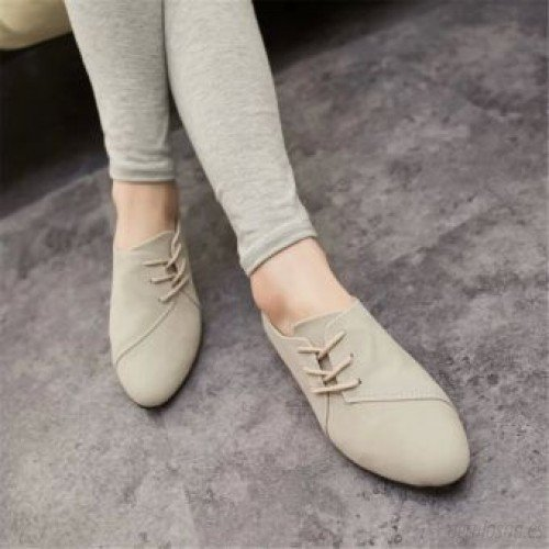 Frotar color Compra Zapatos Flats Suede Moda Casual Mujer Beige 496072 Popular arkWoAwiyW