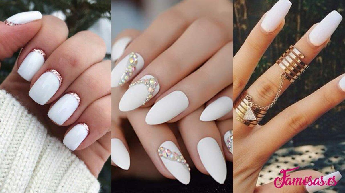 manicura blanca clásica